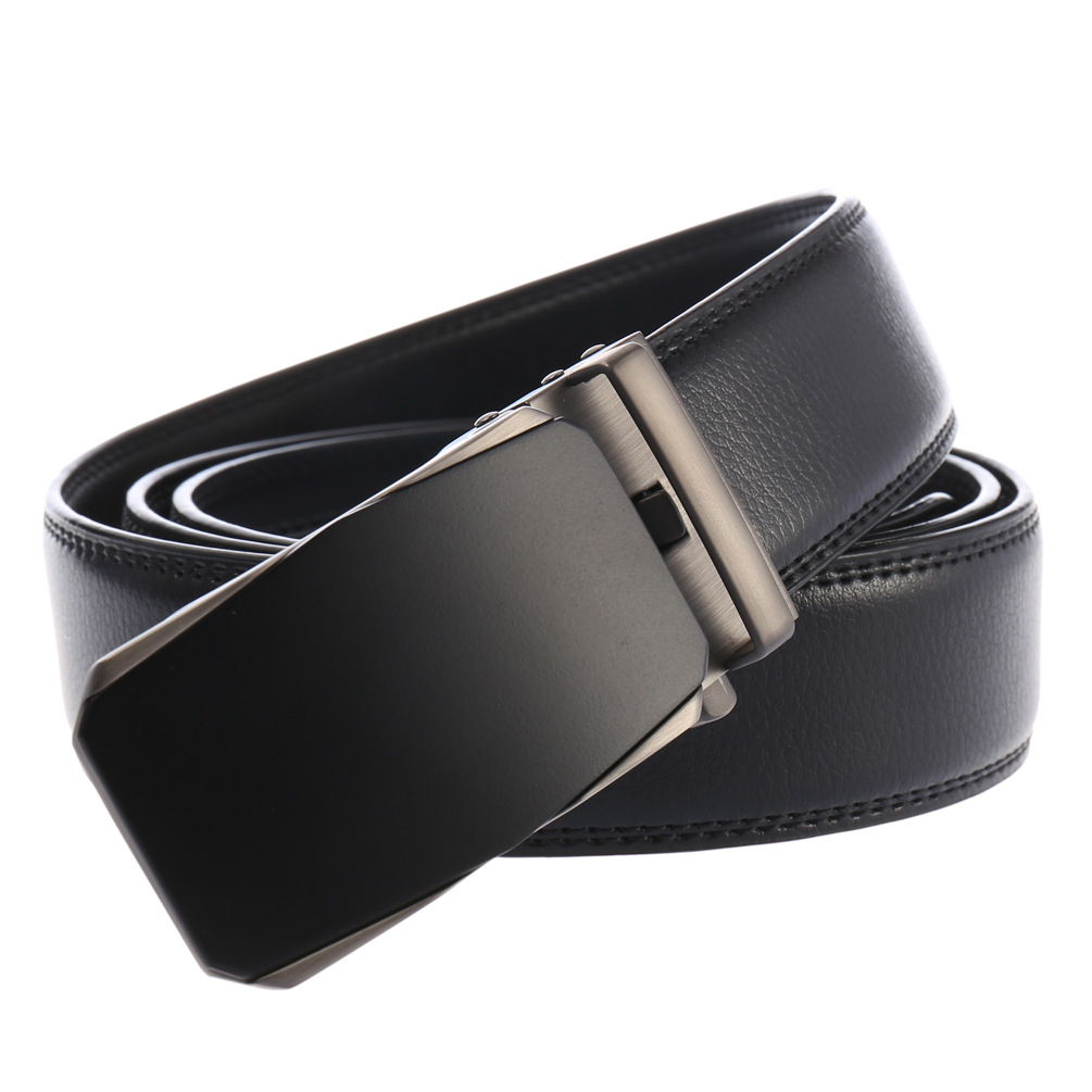 High quality men belt leather belt men automatic buckle  male Fashion jeans chain stretch solid luxury Bland black FG3206-1