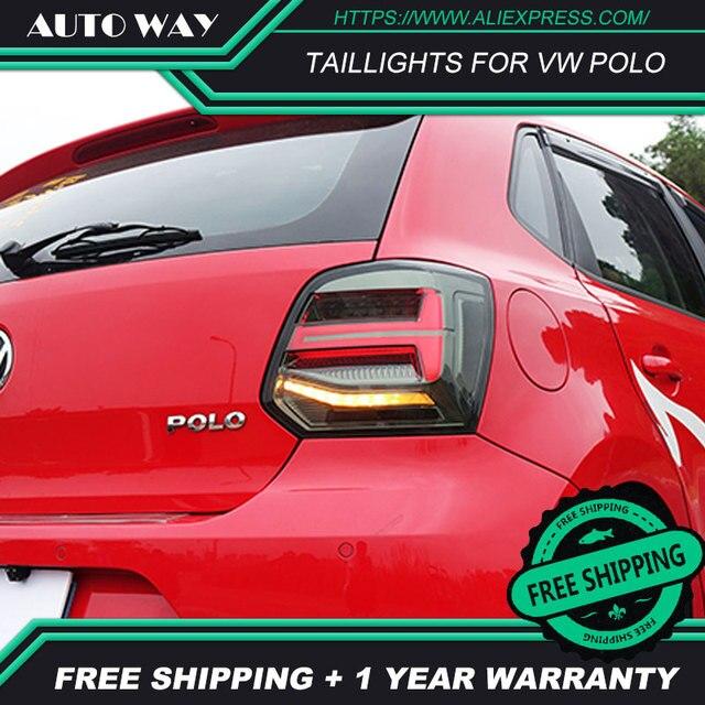 Kiểu Dáng Xe Đuôi Đèn Dành Cho VW Polo Đèn Hậu 2011 2017 Polo Họa Tiết Rằn Ri Nét Ta 016RAR Led Đuôi Đèn Polo Đèn Hậu Phía Sau thân Cây Đèn