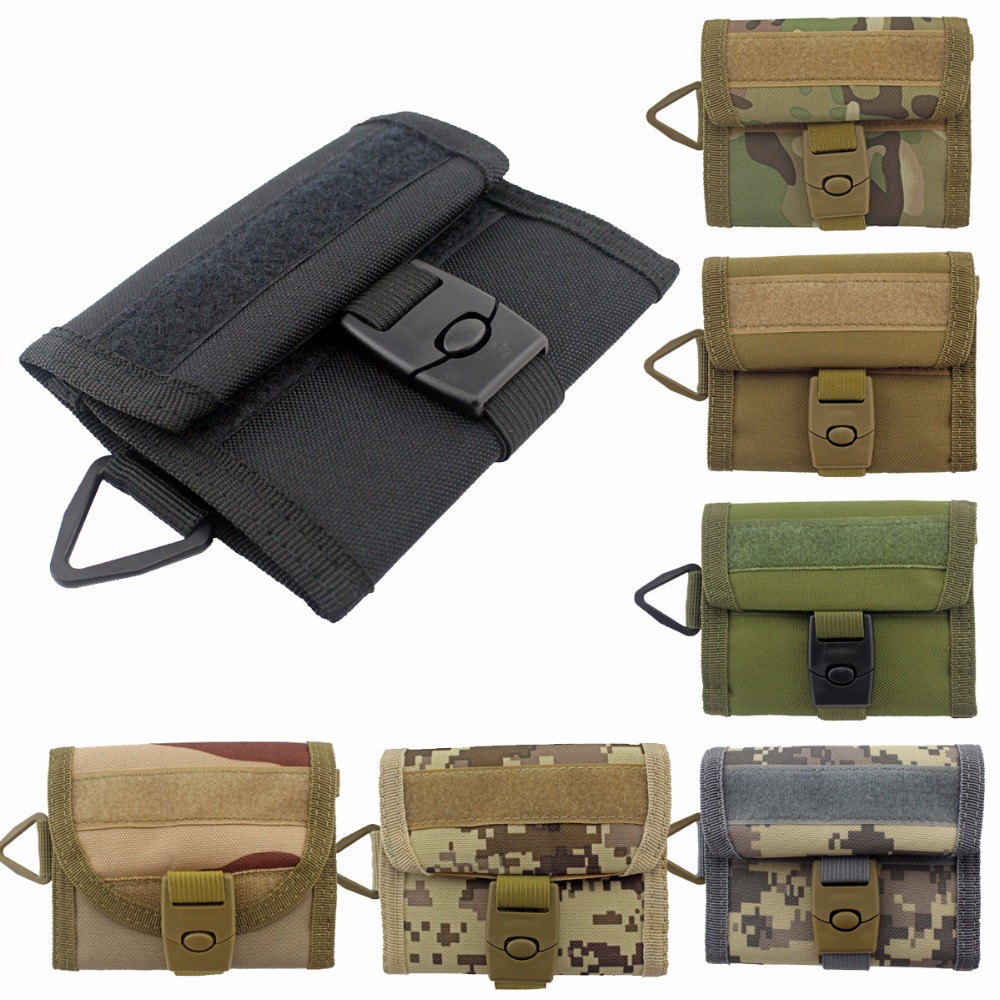 Military Outdoor Sports Wallet Purse Mesh Pocket Hook Loop and Buckle Closure title=