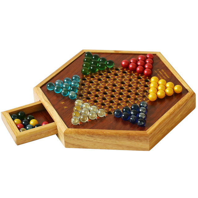 Top Grade Multicolor Marble Chinese Checkers Chess Set Fine Wooden Chessboard Classic Family Childrens Party Playing Board Game