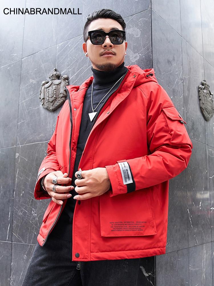 Super marque grande taille hommes usure doudoune avec capuchon Plus gros Plus garder au chaud outillage manteau Patch sac canard vers le bas