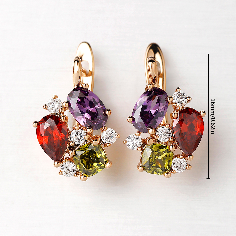 Hanreshe Crystal Stud Earrings Small Red Blue Natural Zircon Earring Hiphop Jewelry Party Cute Gold Lovers Earrings Women Gift