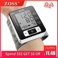 ZOSS Inglese o Russo di Voce Del Polsino di pressione Da Polso Presure Sangue Meter Monitor di Frequenza Cardiaca di Impulso Portatile Tonometro BP