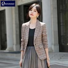 New Korean version of the small jacket female slim temperament casual plaid blazer ladies tops