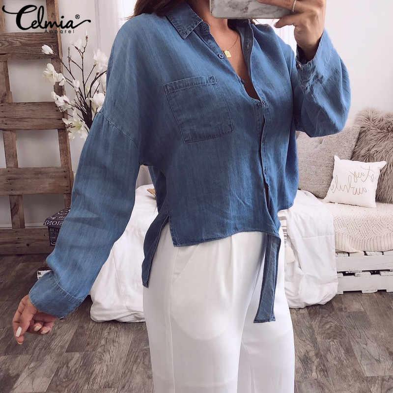 Cellia Женская Джинсовая блузка с длинным рукавом, рубашка на пуговицах, Свободный Повседневный сексуальный топ 2019, асимметричные шифоновые Блузы с узлом, Mujer, большие размеры