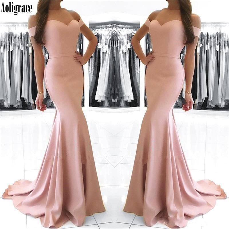 Aoligrace Evening Dresses 2020 Mermaid Sweetheart Off the Shoulder Formal Long Evening Party Gown Vestido De Festa Court Train