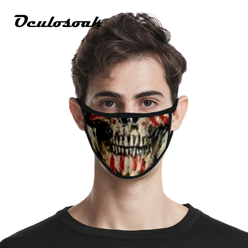 2020 Skull Personality 3D Dustproof Fashion Printing Ice Silk Fabric Can Be Washed