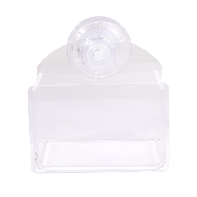 Suction Cup Reptile Feeder Water and Food Bowl Container Basin Feeding Supplies for Lizard Turtle (Translucent)