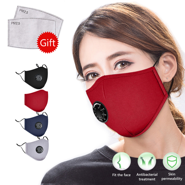 New Kpop Cotton Black Gray Pink Valve Mask Mouth Face Masks Anti PM2.5 Dust Maske Washable Reusable Mouth Cover PM2.5 Filter 3