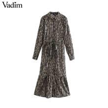 Vadim Nữ Vintage Họa Tiết Hình Thú Đầm Midi Tay Dài Thắt Nơ Buộc Tất Casual Nữ Kiểu Dáng Thời Trang Sang Trọng Áo Vestidos QD159