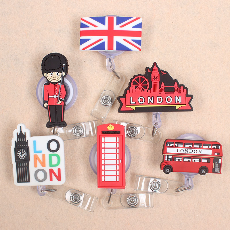 Creative London Style Street View Retractable Badge Card Holder Reel Nurse London Soldiers Exhibition Enfermera  Name Card Chest