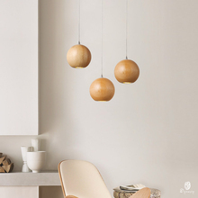 Lampe suspendue en bois à la forme de boule de bois G4, design européen, luminaire décoratif dintérieur, idéal pour une chambre ou une boutique