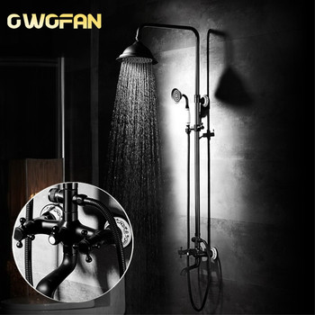 цена на Bathroom Rainfall Shower Faucet Sets Dual Handle Mixer Tap With Hand Sprayer Wall Mounted Waterfall Bathtub Shower Set R45-503