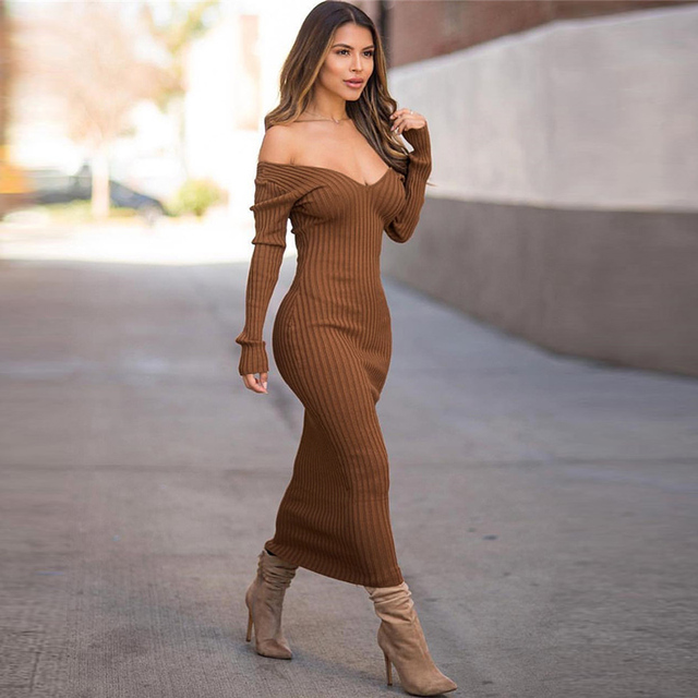Sibybo Winter Ribbed Knitted Cotton Dress Women Off Shoulder Long Sleeve Sexy Bodycon Dresses Elastic Slim Party Vestidos 2020 3