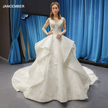 J66756 jancember luxury wedding dress with shiny sequin sexy v neck sleeveless bridal dress long train robe de mariée princesse(China)