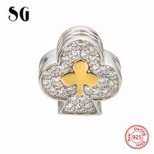 SG diy playing cards clubs charms with clear CZ stone silver 925 beads fit authentic pandora bracelet Jewelry making women gift
