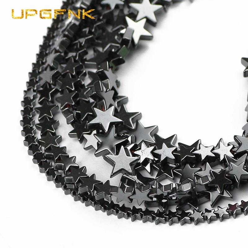Бусины UPGFNK из натурального камня, плоские звезды, черный гематит, бусины россыпью, аксессуары для браслетов и ожерелий, 4, 6, 8, 10 мм