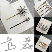 1 Set Women Metal Alloy One Word Bobby Pins Glitter Rhinestone Star Heart Arrow Hair Clips Vitnage Jewelry Hair Accessories(China)