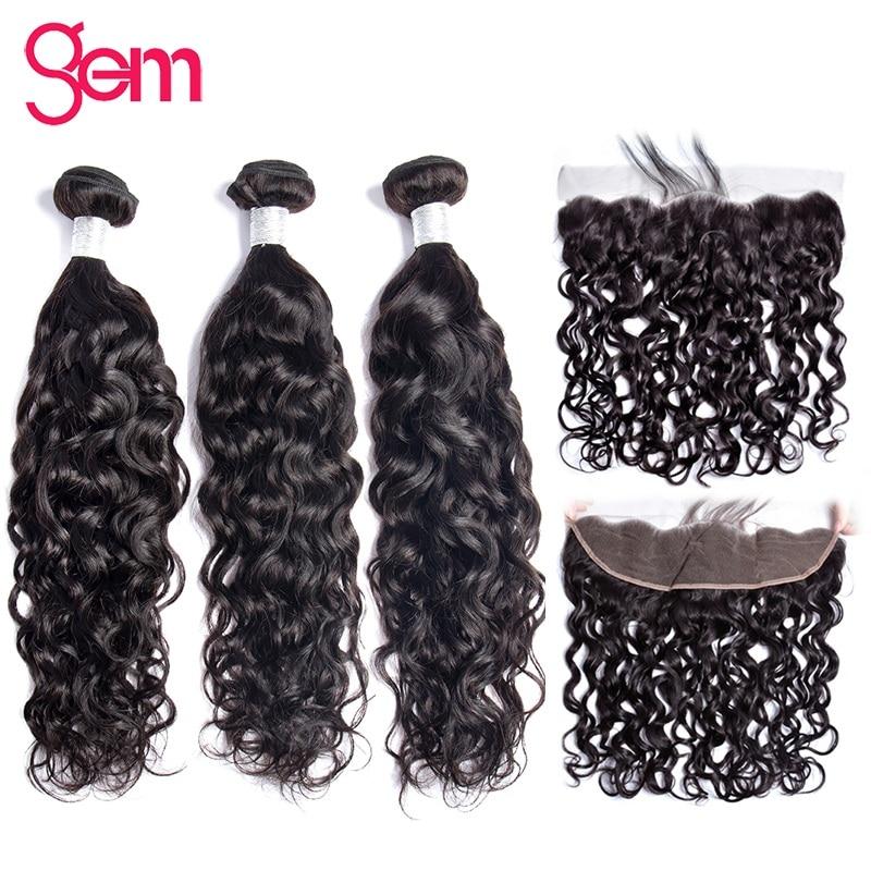 Brazilijos vandens bangų rinkiniai su priekiniais žmogaus plaukų - Žmogaus plaukai (juodai) - Nuotrauka 1
