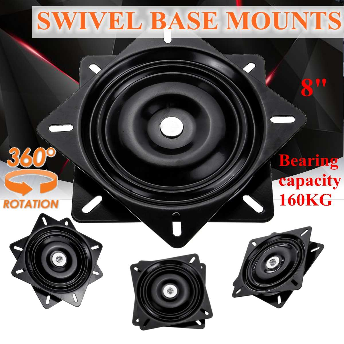 Square Seat Swivel Mount Plate Rack Rotary Base With Ball-bearings Parts Tools