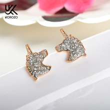 Unique Charming Jewelry Silver Color Crystal Unicorn Earrings for Women Wedding Gift Cute A