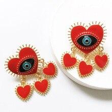 Vintage Gold Color Evil Eye Big Drop Dangle Earrings for Women Metal Heart Shape Tassel Pendant Earrings Statement Party Jewelry недорого