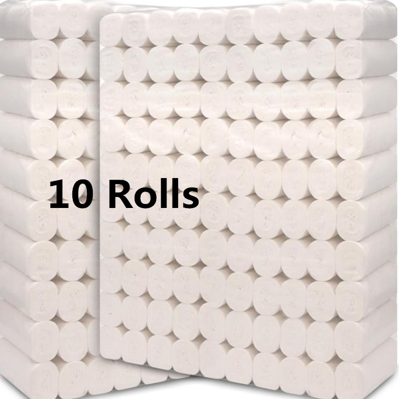 10 Rolls Soft Toilet Paper Roll Tissue 4-layers Household  Paper Without Adjunct Non-Smell Home Bathroom Kitchen Accessories