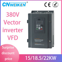 Frequency Converter VFD 50hz to 60hz 3 Phase 380V AC Inverter 18.5KW / 15kw / 22kw for 38A rated current motor