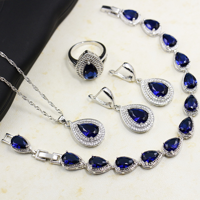 GZJY Women Royal Blue Crystal Jewelry Sets 925 Silver Heart cut Earrings Necklace Pendant Bracelet Jewelry(China)