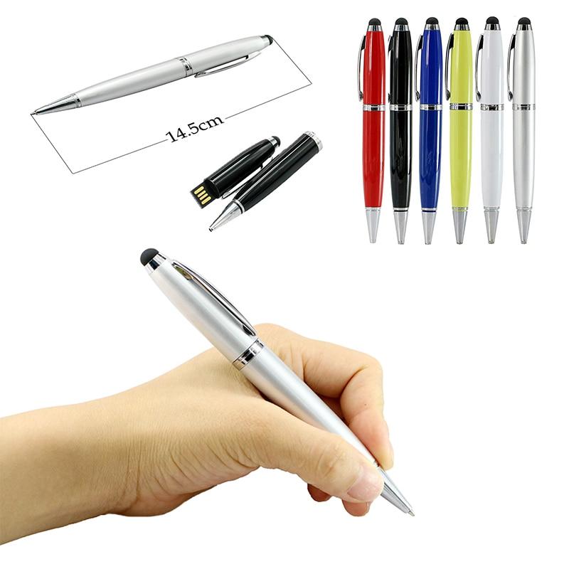 Flash Drive USB Teacher Gift Metal Pen Flash Memory Stick 6 Color Pen Pen Drive 128GB 64GB 4GB 8 128 16 32 64 Gb Pendrive Usb2.0