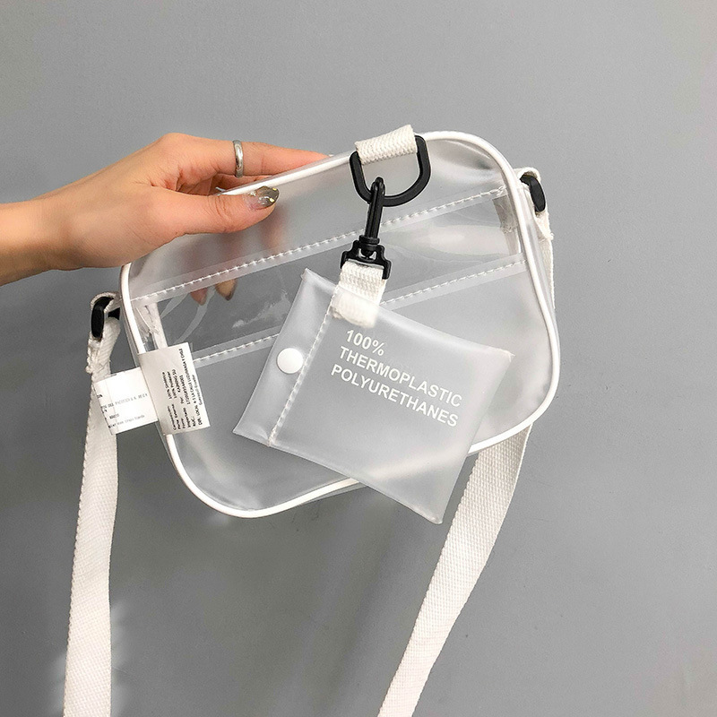 Casual PVC Transparent Clear Women Crossbody Bags Shoulder Bag Handbag Jelly Small Phone Bags With Card Holder Wide Straps Flap
