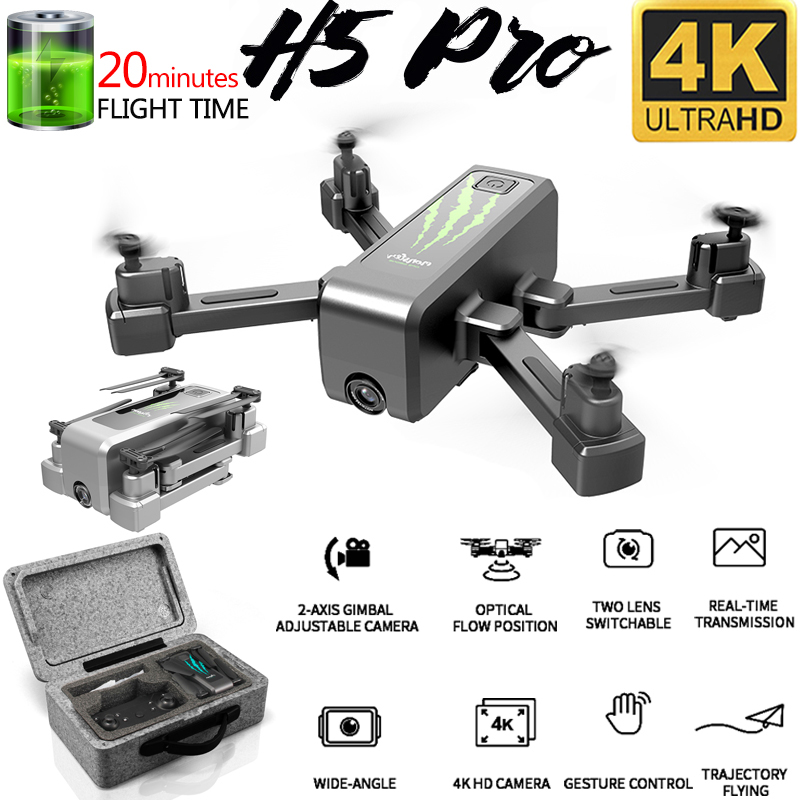 2020 New H5 RC Drone with 4K Camera Wifi FPV Optical Flow Dual Camera Foldable Quadcopter Drone Stabilization Gimbal 50X Zoom