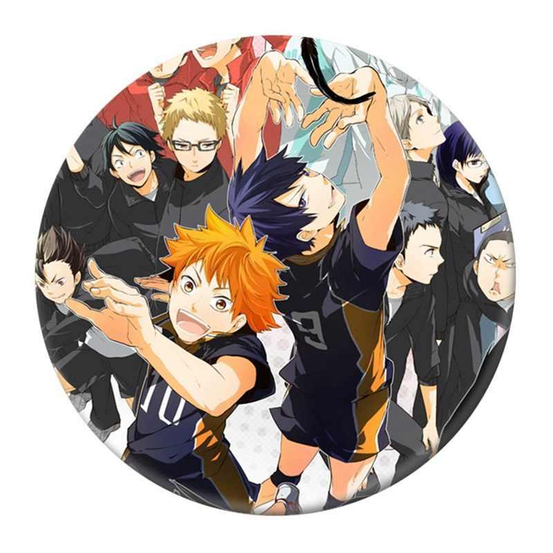 Anime High Kyuu!! Emalia pin siatkówka chłopiec Cos Tsukishima Firefly Sun Xiang XCosplay Bedge torby kartonowe okrągła przypinka broszka