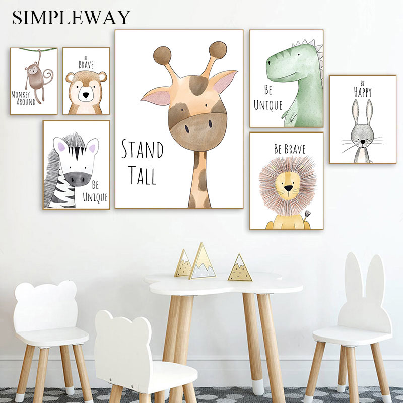 Watercolor Woodland Baby Animal Poster Dinosaur Lion Poster Nursery Wall Art Canvas Painting Nordic Kid Room Decoration Picture