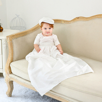 Newborn Baby Boys Clothes White christening gowns Infant Toddler Boy Formal Suit for Baptism 0 12M Extra Long Wedding Clothes