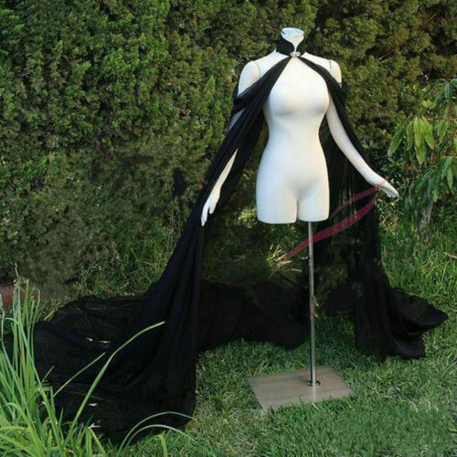 Black white ivory lace &chiffon Cape Elegant Bride Warps Long Train Evening Dress Coat Women Bolero Bride cloak Long Cape