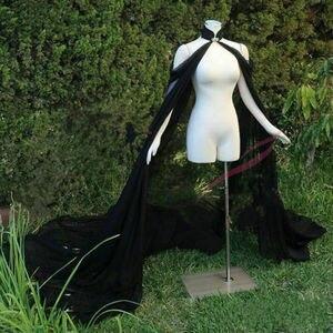 Czarna biała koronka w kolorze kości słoniowej i szyfonowa peleryna elegancka panna młoda Warps długi pociąg wieczór elegancki płaszcz kobiety Bolero panna młoda płaszcz długa peleryna