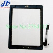 10 Stuks Touch Panel Voor Ipad 2 / 3 / 4 Touch Screen Digitizer + Home Knop + Sticker + camera Houder Compleet Vergadering Wit Zwart