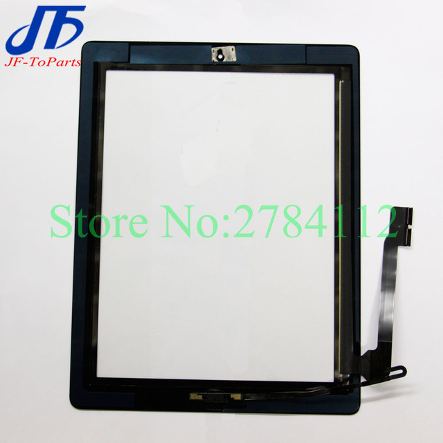 10Pcs touch Panel For ipad 2 / 3 / 4 Touch Screen Digitizer + Home Button + Sticker +Camera Holder Complete Assembly White Black
