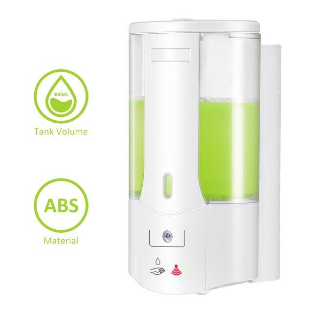 400ml Automatic Liquid Soap Dispenser Wall Mounted Sensor Soap Dispenser Hand Sanitizer Shampoo Container for Kitchen Bathroom