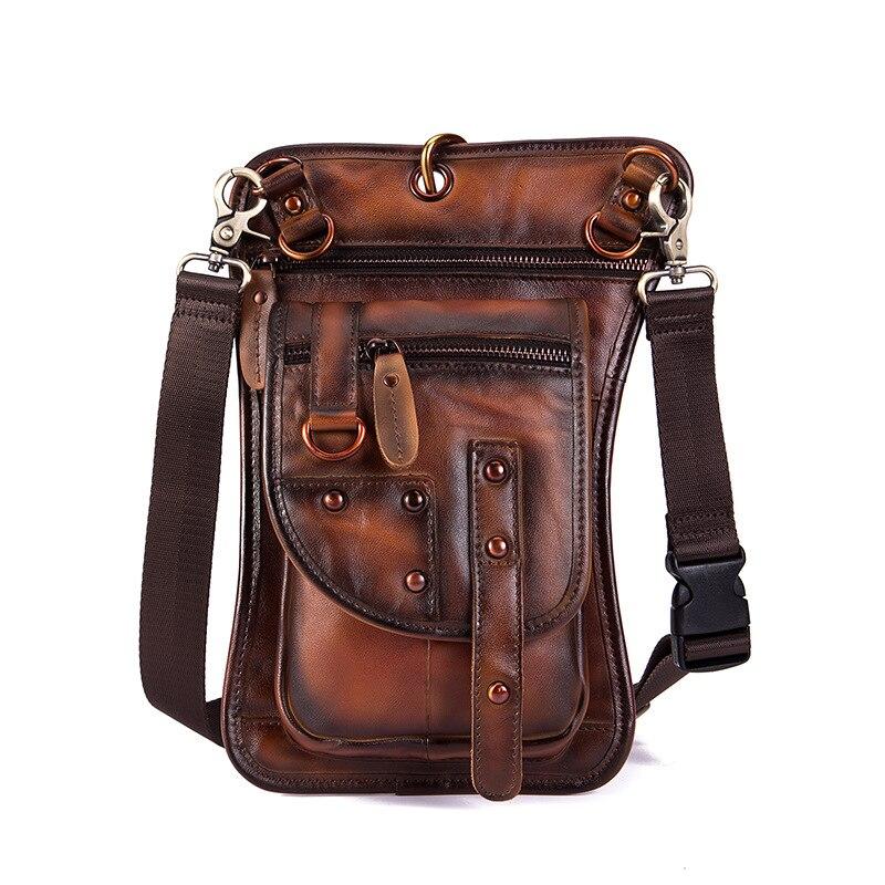 Norbinus Men Waist Bag Fanny Packs Genuine Leather Motorcycle Thigh Drop Leg Bag Male Shoulder Messenger Bag Hip Belt Hook Pouch