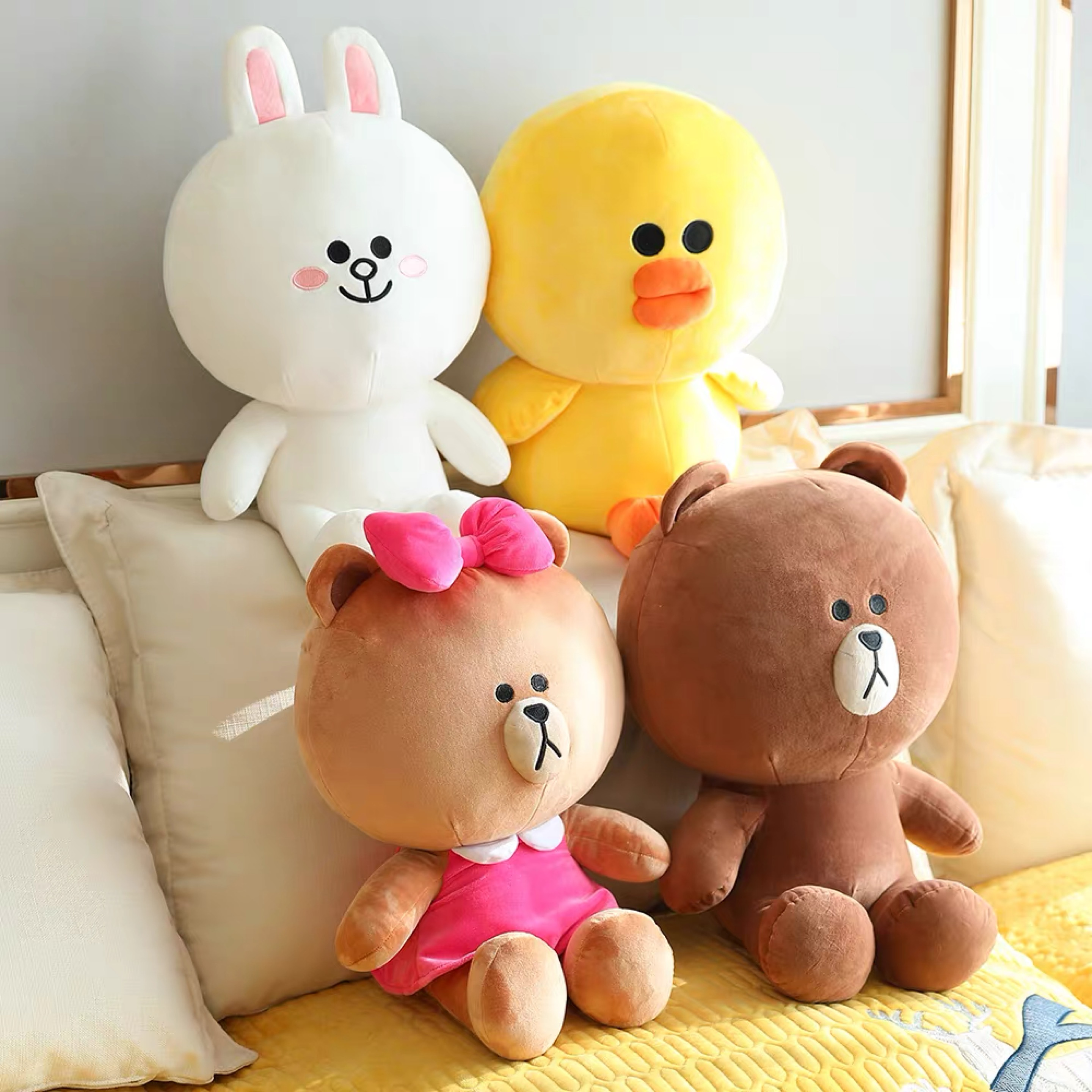 Brown Bear And Cony Rabbit Plush Toy Brown Pillow Toy Lovely Cartoon Doll For Girlfriend Birthday Gift Children's Day Present