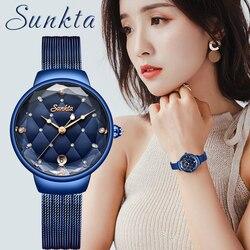 Sunkta moda feminina azul relógio de quartzo senhora casual à prova dwaterproof água simples relógio de pulso presente para meninas esposa saat relogio feminino + caixa