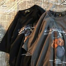 Algodão verão de manga curta camiseta feminina harajuku design sentido urso nicho americano tendência solta meia manga selvagem casal topo