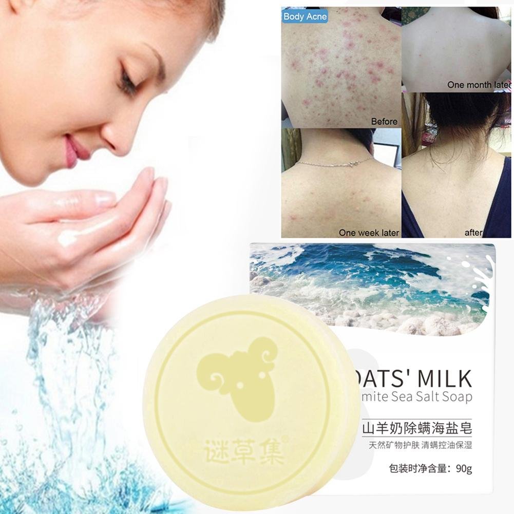 Goat Milk Sea Salt Soap Oil Control Face Washing Cream Cleansing Oil Soap For Dry Natural Oily Skin Moisturizing image