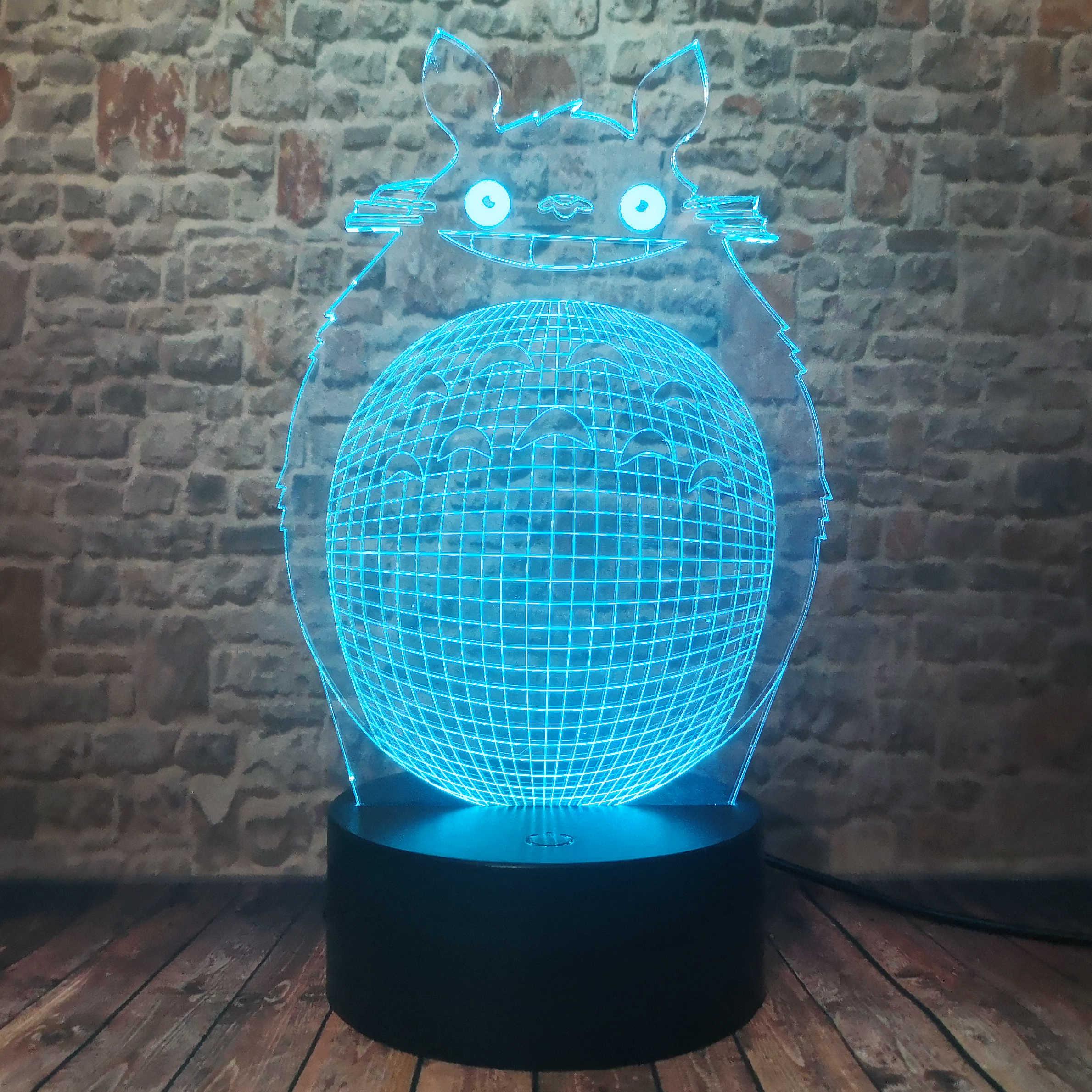 アニメとなりのトトロ置物 3D スマート 7 色変化の夜の光ベビーベッド寝室ランプフィギュア子大人クリスマスおもちゃギフト