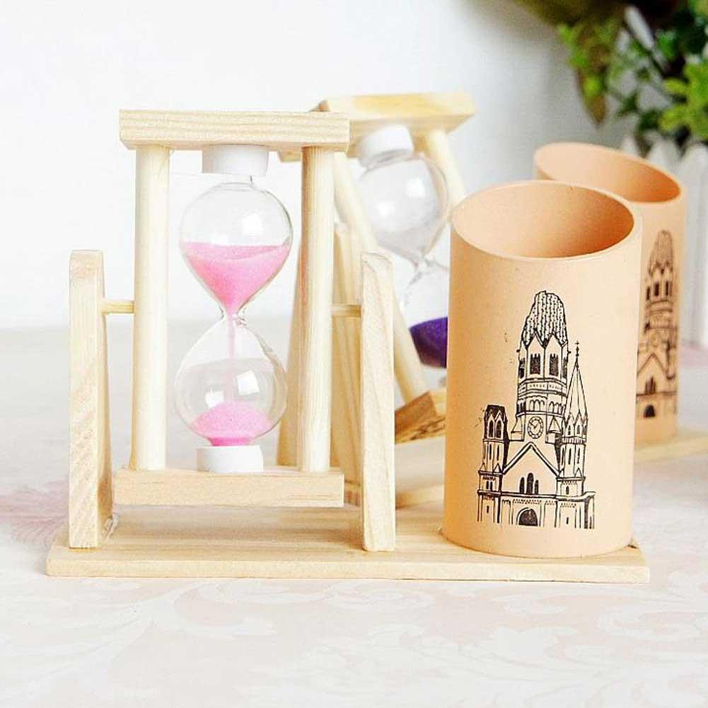 Vividcraft Creative Timer Wood Pen Holder Office Desk Stand Pencil Accessories For Gift For Desk Holder With Pen Scrub W7D2