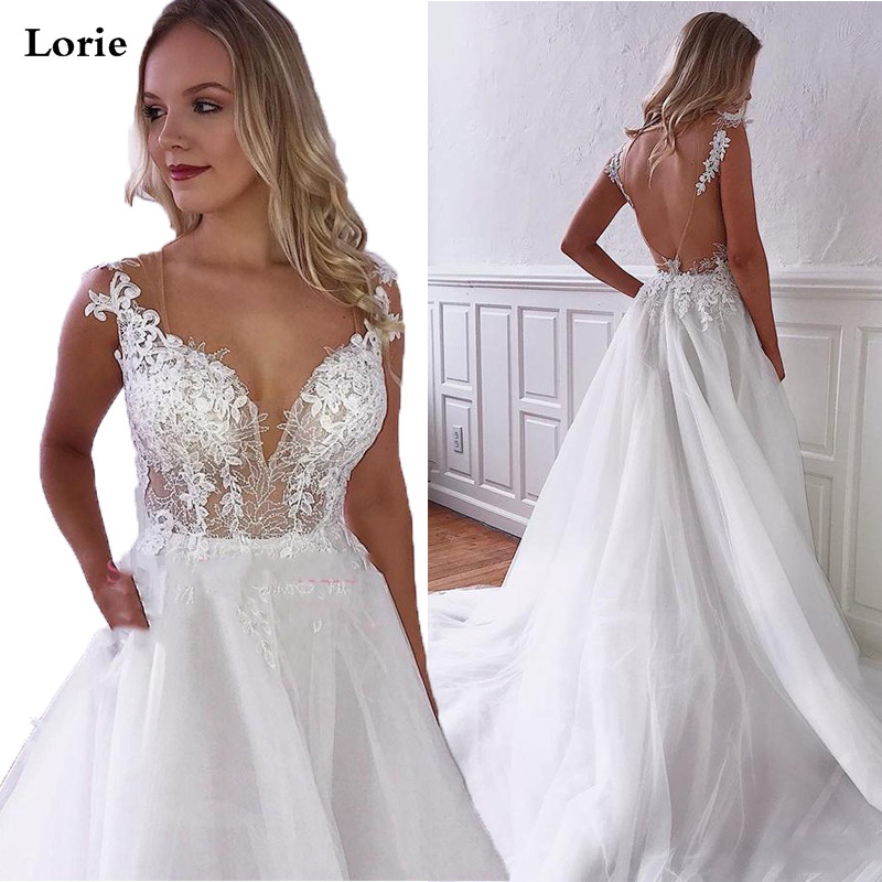 Lorie Wedding Dresses A Line Bohemia Vestido De Novia White Sleeveless Bridal Dress Lace Appliqued Wedding Gowns