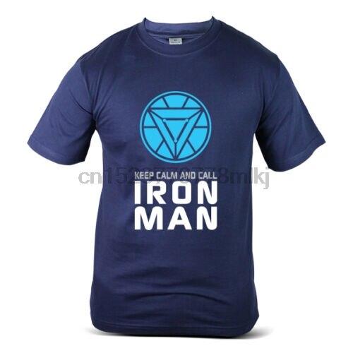 090-NV Superhero Keep Calm Call Iron Man Tony Stark Navy Blue Mens T-Shirt Men Women Unisex Fashion tshirt Free Shipping