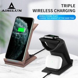 Беспроводное зарядное устройство 3 в 1, 15 Вт, подставка для быстрой зарядки для iPhone 11Pro, Apple Watch Series 5, 4 Airpods 2/Pro, зарядка для Samsung, Huawei